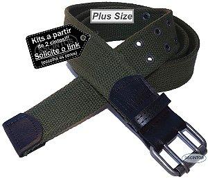 Cinto Plus Size Masculino Lona Premium 2 Bordas 4cm L39 Vd