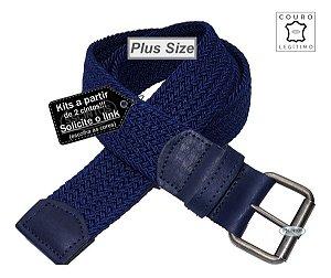 Cinto Plus Size Trançado Elástico Couro Legítimo 3,9cm Az