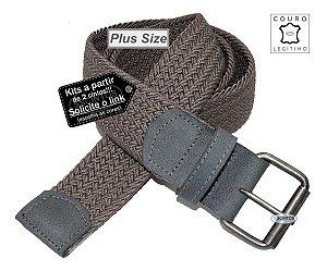Cinto Plus Size Trançado Elástico Couro Legítimo 3,9cm Cz