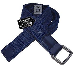 Cinto Lona Premium Masculino Couro Legítimo Argolas 4cm L48a