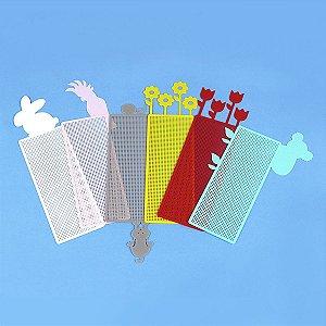 Marcador de Página Ponto Cruz de Plástico Ecológico 25x69 Pontos