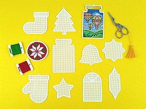 Pingente de Natal Ponto Cruz de Plástico Ecológico