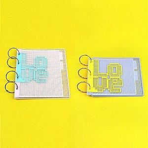 Kit Álbum Eco Tela Tapeçaria Padrão Snap e Mini Álbum 15x15cm