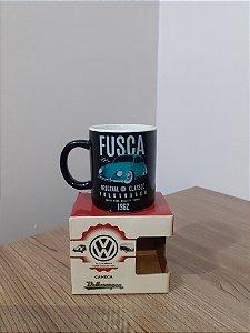 Mini Caneca de Porcelana Fusca Classic Preto e Azul 140 ml