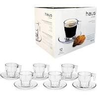Conjunto De 6 Xicaras Café Vidro 70ml C/ Pires Haus Concept!