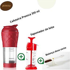 Kit Pressca Cafeteira Portátil Vermelha + Cremeira + Balança dose certa