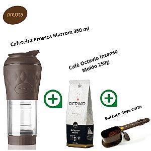 Super Kit c/ Cafeteira Pressca 350ml + Café Octavio Intenso 250g + Balança dose certa (Marrom)