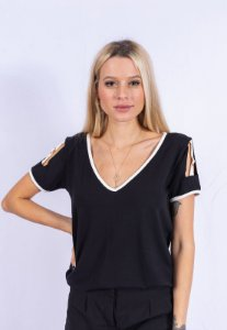 Blusa Detalhe Off Fivela Up Side Wear Preta