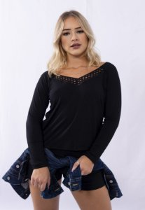 Blusa Up Side Wear Raglã Renda Preta