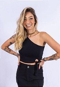 Blusa Regata Um Ombro Só Amarração Up Side Wear Preta