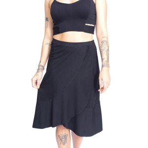 Saia Up Side Wear Midi Babado Preta