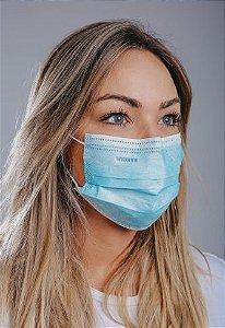 Máscara cirúrgica tripla c/ elástico cx. c/ 50 und. AZUL