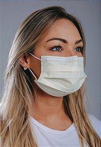 Máscara cirúrgica tripla c/ elástico cx. c/ 50 und. AMARELA
