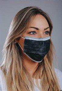 Máscara cirúrgica tripla c/ elástico cx. c/ 50 und. PRETA