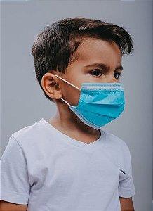 INFANTIL Máscara cirúrgica tripla c/ elástico 50 und. AZUL