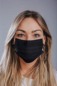 Máscara cirúrgica tripla c/ elástico cx. c/ 50 und. ALL BLACK ELÁSTICO BRANCO