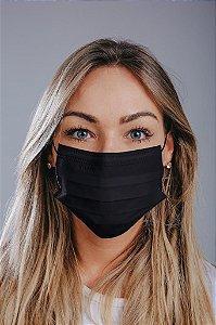 Máscara cirúrgica tripla c/ elástico cx. c/ 50 und. ALL BLACK ELÁSTICO PRETO