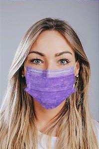 Máscara cirúrgica tripla c/ elástico cx. c/ 50 und. LILÁS