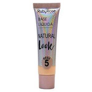 BASE LÍQUIDA NATURAL LOOK RUBY ROSE - BEGE 5