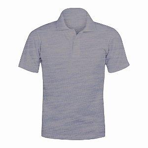 Camisa Polo Cinza Mescla c/ Bordado no Peito