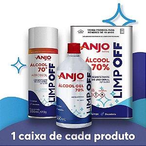 KIT COMBO 2 (12un. Álcool Aerossol 70% 300mL/170g + 12un. Álcool Gel 70% 500mL + 4un. Álcool Líquido 70% 5L)