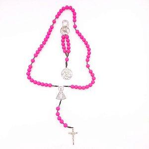 Kit - Terço Acampamento Nossa Senhora Aparecida + Chaveiro Sagrada Família Rosa