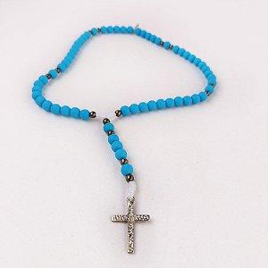 Terço de Pulso Cruz Sagrada Azul Claro
