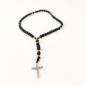 Terço de Pulso Cruz Sagrada Preto