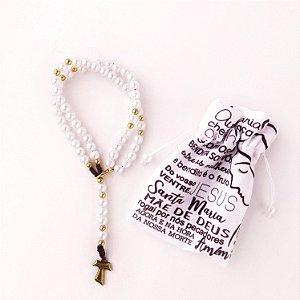 Terço de Pulso Franciscano Branco