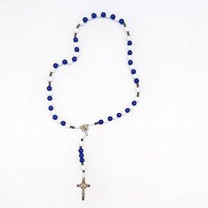 Kit com 09 Terços Nossa Senhora de 12 Estrelas Azul e Branco