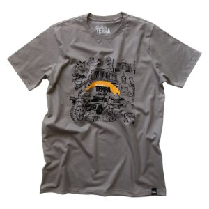 Camiseta Mundo por Terra Cinza Pedra Unissex