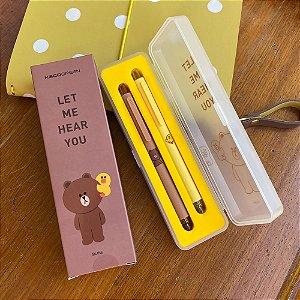 Kit de Canetas Gel Pretas 0.5 Com Caixa Line Friends Ursinho Brown Pintinho Sally Amarelo Marrom