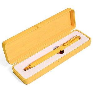 Caneta Esferográfica Azul Com Clip e Caixa Amarelo