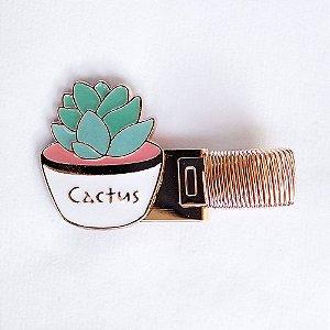 Clipe Porta Caneta de Metal com Mola Cactus Suculenta Branco