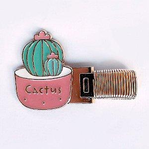 Clipe Porta Caneta de Metal com Mola Cactus Rosa