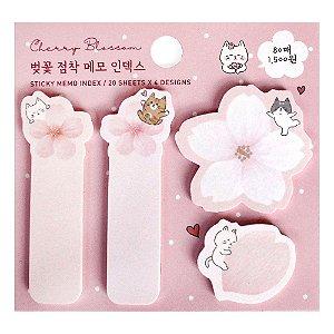 Post-it Sticky Memo Pad Cherry Blossom Gatos Flores de Sakura Rosa - Artbox