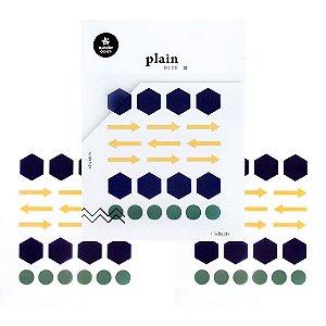 Adesivo Divertido Transparente - 3 Cartelas Plain Deco + n.23 Setas Colmeia