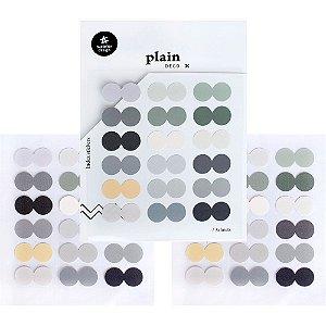 Adesivo Divertido Papel - 3 Cartelas Plain Deco + n.42 Index Stickers Círculos Cores Frias