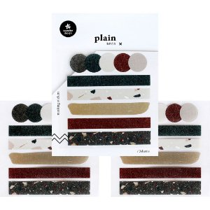 Adesivo Divertido Washi Tape - 3 Cartelas Plain Deco + n.31 Círculos e Fitas Terrazzo