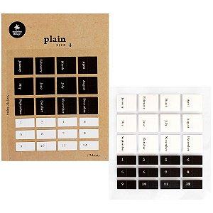 Adesivo Divertido Nylon - 2 Cartelas Plain Deco + n.44 Index Stickers Meses Dourado