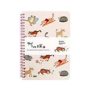 Caderno Espiral Pautado A5 Hey! I'm Ok Gatos Creme