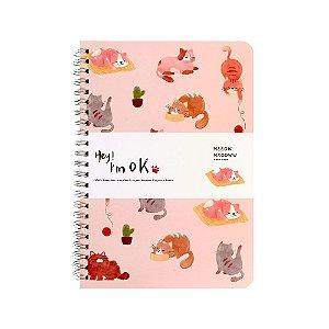Caderno Espiral Pautado A5 Hey! I'm Ok Gatos Rosa