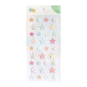 Adesivo Divertido Papel - Basic Sticker Estrelas Nekoni