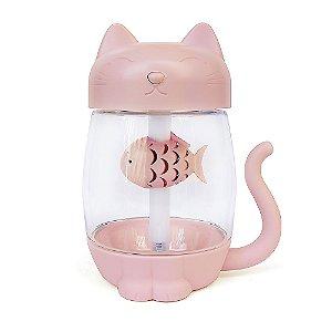 Umidificador de Ar Multiuso Gato USB Com Função de Luz e Ventilador Rosa