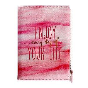 Caderno Brochura Pautado Capa Dura Removível com Bolso Enjoy Every Day of Your Life Rosa