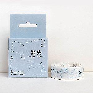 Fita Decorativa Washi Tape - Metálica Azul Setas