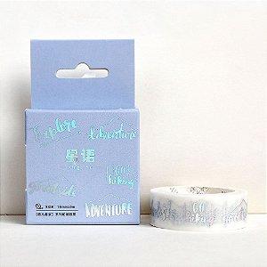 Fita Decorativa Washi Tape - Metálica Holográfica Prata Frases