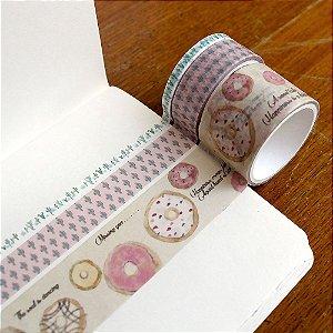 Kit de 3 Washi Tapes Donuts e Cactos