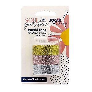 Kit de 3 Washi Tapes Soul Garden Glitter