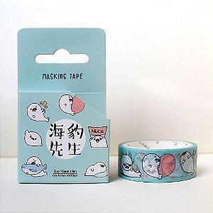 Fita Decorativa Washi Tape - Animais Foca Azul